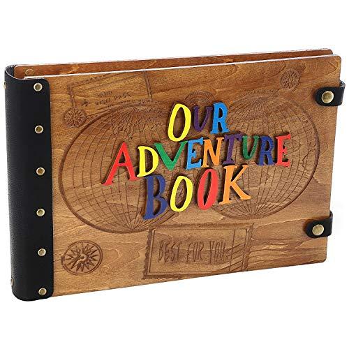 Sotor Álbum de Fotos, Album Fotos de Madera con Letras 3D, Our Adventure Book(Nuestro Libro de Aventuras) Actualizado, Album Fotos Scrapbook Extensible con Piezas de Accesorios de Bricolaje de Caja