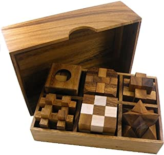 6 Wooden Puzzle Gift Set In A Wood Box - 3D Unique Puzzles for Adults and Teens