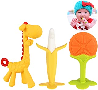 Baby Teething Toys Set, Natural Silicone Baby teether Toys,