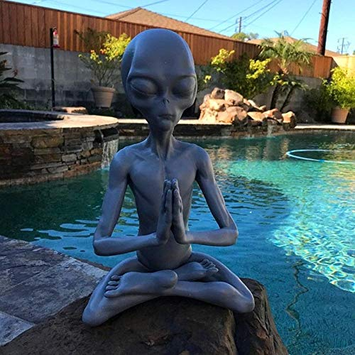 Meditating Alien Resin Statue, Interesting And Innovative Garden Ornament, Best Art Decor For Indoor Outdoor Home Or Office