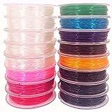Hilo Elástico para pulsera Colores Transparente, 16 Rollos Cordón Elástico 0.8mm x 9M, Cuerda Cristal Elastica. Hilo para manualidades y Abalorios. Fibra Elastica.
