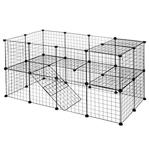 YOUKE Box per Cani, Animali Domestici Recinto di Filo Metallico Portatile, Antiruggine per Animali Piccoli e Medi - Anche per Conigli e Cuccioli (36 Pannelli)