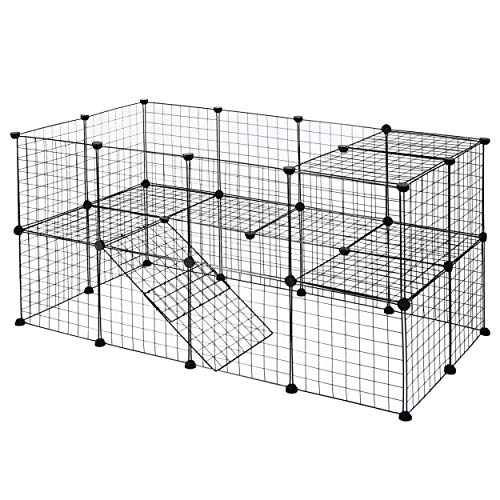 YOUKE Parque para Perros, Productos para Mascotas Cerca de jardín de Alambre metálico, Negro (36 Paneles) …