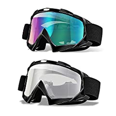 ⭐ARBITRARILY CURVED MATERIALS - Length:18cm/7.1 inch, Hight: 11cm/4.1 inch, Only Weight 110g, Lightweight And Pratical, High Strength PC Polycarbonate Lens And Durable TPU Plastic Frame With Soft Comfortable Sponge Padded Goggles Gafas.Flexible Unbro...