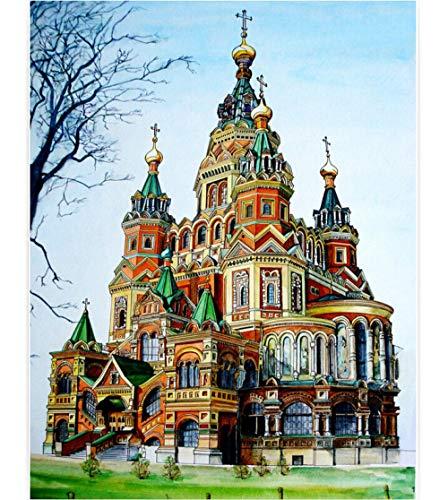 BeiMeng Puzzle En Bois Adulte 1000 Pièces Jouet Éducatif Pour Enfants Peinture À L'Huile Cathédrale Saint-Basile Sur La Place Rouge, Russie-75x50cm