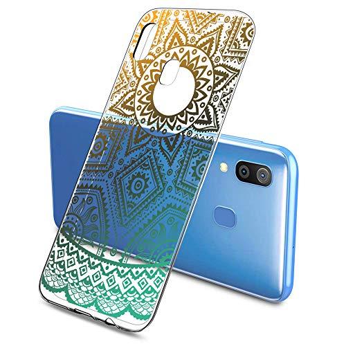 Oihxse Silicona Funda pour Samsung Galaxy J5 Prime/ON5 2016 - Transparente TPU Ultra Fine Protector Carcasa Circulo Puntilla Flor Diseño Anti Choc Antigolpes Bumper Case Cover(Flower A2)