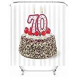 Duschvorhang für Badezimmer Wasserdicht schrittweise 70 Kuchen Duschvorhang Haken mit Ringen 1 Panel enthalten 180CM*180CM