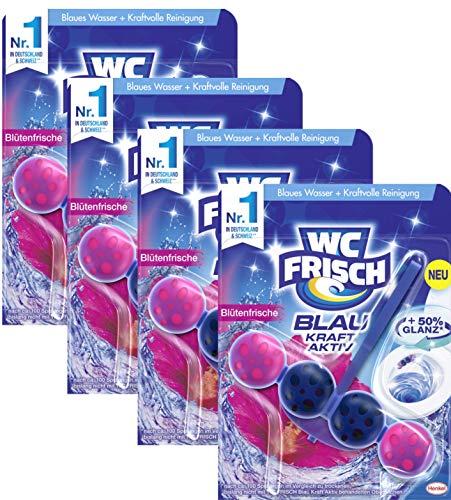 WC FRISCH Kraft Aktiv 4er-Pack Blauspüler Blütenfrische, WC-Reiniger und Farbspüler mit 50 Prozent mehr Glanz 4 Stück