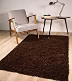 The Rug House Stockholm Tapis Luxueux Doux et épais à Poils Longs Marron Chocolat, Marron, 110_x_160_cm