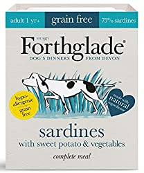 Natural grain free wet dog food bulk pack which consists of 18 x Sardines, Sweet potato & Veg 395g. High meat content of 75% which provides a great source of Protein for your dogs aged 1 year and above Our complete dog food is grain free which is per...