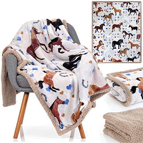 Horse Blanket - 50x60 Inch Luxuriously Soft Horse Throw Blanket - Most Beloved Horse Gifts for Girls, Women, and Horse Lovers Everywhere