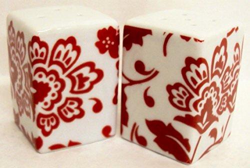 Florence Sel et Poivre Porcelaine Carré Rouge Poivrière Fleurs Poivrière décoré à la main au Royaume-Uni