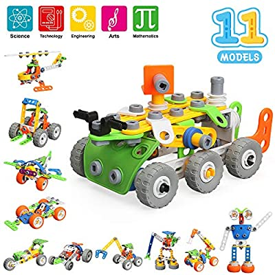MOONTOY STEM Building Games Blocks Kids Toys for Boys Girls, 175 Pcs Kids Learning Science Kits for 5 6 7 8 9+ Years Old, 11-in-1 Construction Engineering for 5-12 Years Kids