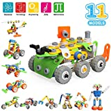 MOONTOY STEM Building Games Blocks Toys for Boys Girls, 175 Pcs Kids Learning Science Kits for 5 6 7 8 9+ Years Old, 11-in-1 Construction Engineering for 5-12 Years Kids
