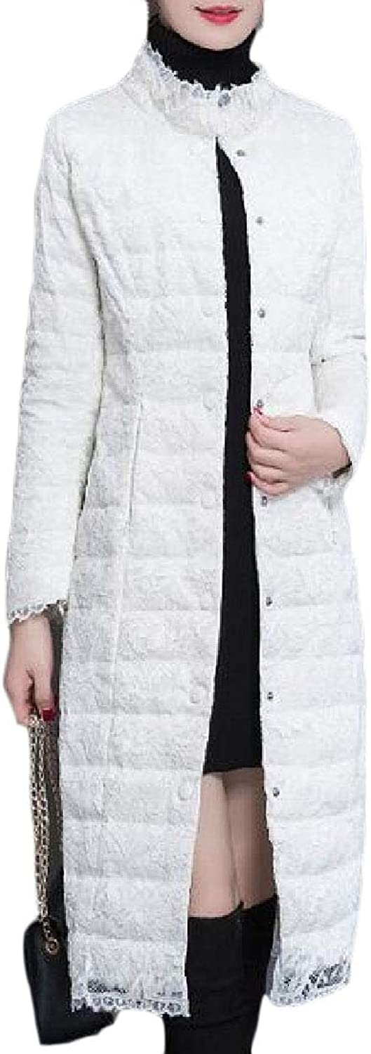 Esast Women's Winter Packable Button Down Coats Down Maxi Stand Collar Coat