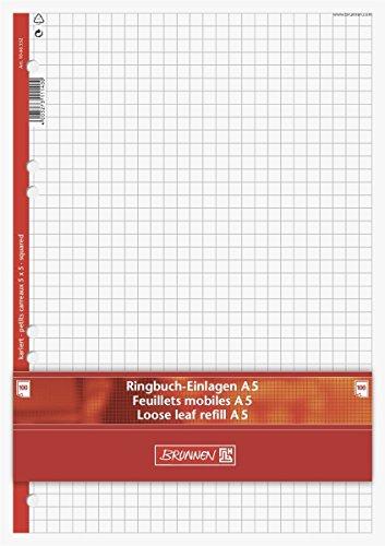 Brunnen 1066332 Ringbucheinlagen (A5, kariert, 100 Blatt, 70 g/m²) (A5, kariert, 5 Stück)