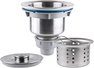 Yolife 3-1/2inch Kitchen Standard Sink Drain Assembly Stopper Stainless Steel Sink Strainer with Removable Deep Waste Basket and Seal Lid