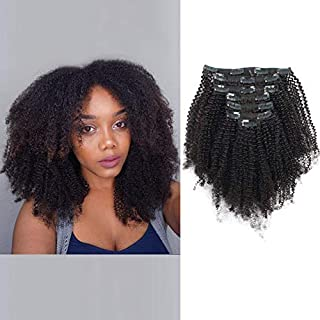 ABH AmazingBeauty Hair Double Weft 8A Grade Big Thick Afro 4B 4C Coily Hair Clip In Extensions for African American Black Women, Real Remy Human Hair, Natural Black, 120 Gram, A4C 12 Inch