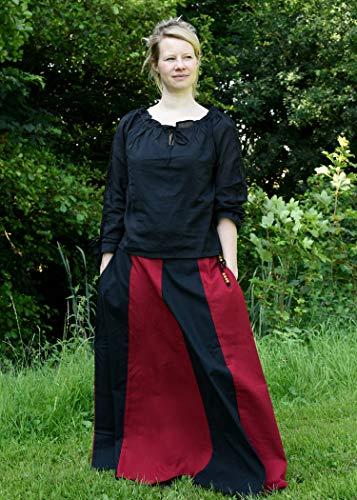 Mittelalterlicher Rock, weit ausgestellt aus schwerer Baumwolle Mittelalter LARP Wikinger Kostüm verschiedene Ausführungen (M, Schwarz/Rot) - 3