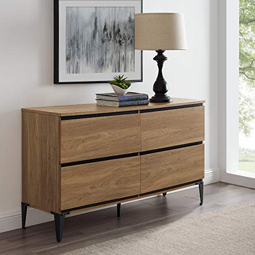 Walker Edison Furniture Company 4-Drawer Storage Urban Dresser, 52, English Oak