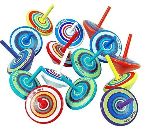 MOKIU 15 Kreisel für Kinder Holzkreisel als Mitgebsel für Kindergeburtstag oder Gastgeschenke kleine Geschenke Geschenktüten Geburtstagstüten Geduldspiele Schatzkiste