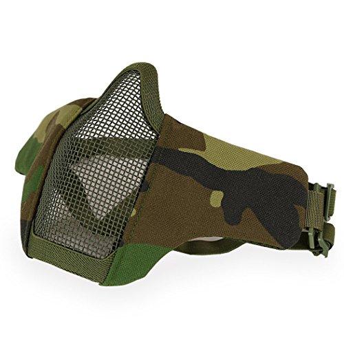 H World EU Airsoft taktische Ausrüstung gegen Paintballtreffer, Stahl halbe Gesichtsmaske mit 2 Gurten, Woodland