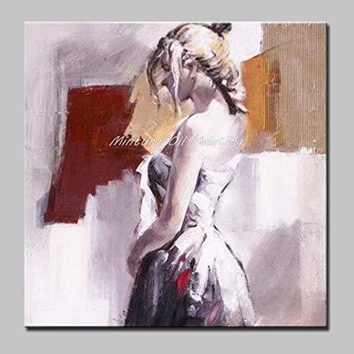 Olieverfschilderij handgeschilderd op canvas, abstracte figuren, mooi schilderij voor dames, blond, grijs pak, modern, groot, kunst, voor volwassenen, ingang, woonkamer, slaapkamer 120 x 120 cm