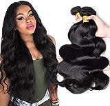 8A Grade Brazilian Body Wave Bundles Virgin Hair 3 Bundles 100% Unprocessed Virgin Brazilian Human Hair Weave Hair Extensions Nature Black Color(10 12 14inch)