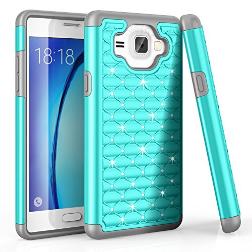 Schutzhülle für Samsung Galaxy On5 / On5 Hülle, mit Strasssteinen besetzt, stoßdämpfend, stoßdämpfend, Türkis/Grau