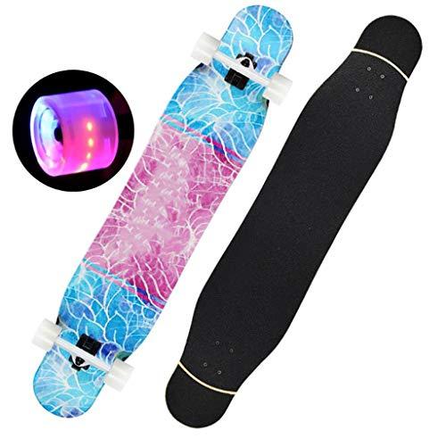 AMRU Skateboard, 47 Zoll, hudora Skateboard, Longboards, Drop-Through-Freeride-Skating-Skateboards, Double Kick 7-lagiger Ahornholz-Dack, mit Pu-Flash-Rädern-C