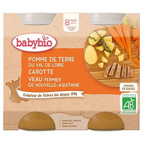Babybio - Petits Pots Pomme de Terre Carotte Veau Fermier d'Aquitaine du Limousin 2x200g - 8+ Mois - BIO - Lot de 3