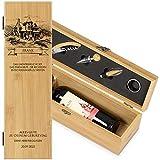 Maverton Wein Geschenkbox für 0,7L Weinflasche + Aufdruck + 4er Weinzubehör - Weinset aus Bambus - 36x11x11,5cm - Braun - Geschenk zum Geburtstag für Herren - Unentbehrliches Set