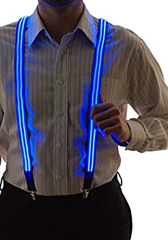 Neon Nightlife Stripe Blue Light Up LED Suspenders for Men Cool Costume Accessory   Colorful Blinky Flashy Nerd Clothing Outfit