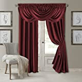 Elrene Home Fashions Versailles Faux Silk Room Darkening & Energy Efficient Lined Rod Pocket Window Curtain Drape Pleated Solid Panel, 52' x 84' (1, Red