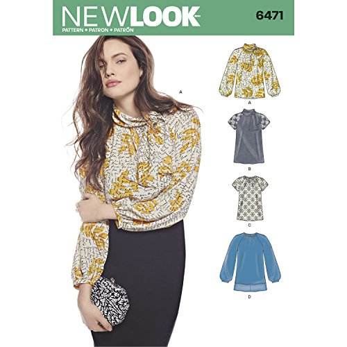 New look patroon 6471 Misses' Blouses en Tuniek met hals variaties, Papier, Wit, 22 x 15 x 1 cm