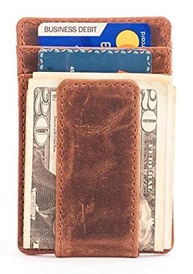 Full-Grain Leather Money Clip Wallet for Men   No Fold Card Travel Wallet