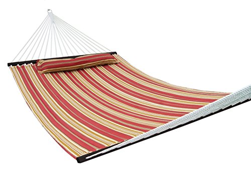SueSport New Hammock Quilted Fabric with Pillow Double Size Spreader Bar Heavy Duty, Burgundy/Tan Pattern