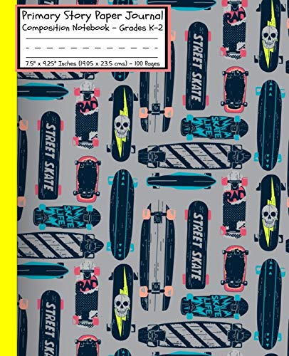 Primary Story Paper Journal: Cool For Boys Skateboarding Skateboard DECKS GREY NEON YELLOW/Dotted Midline and Picture Space/Composition ... Cover/7.5