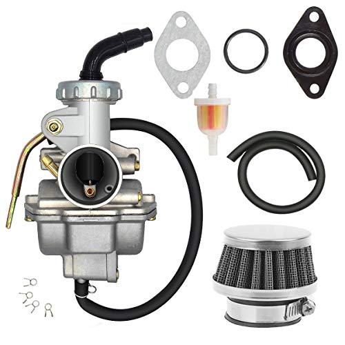 PZ20 Carburetor for TaoTao Kazuma Baja 70cc 90cc 110cc 125cc NST SunL Chinese Quad 4 Stroke ATV Go Kart Pit Dirt Bike CRF50F XL75 CRF80F XR50R with Air Fuel Filter