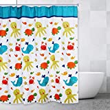 Comfecto Sea Creatures Bathroom Shower Curtains for Boys and Girls, Multicolored Fun Fish Turtle Whale Crab Underwater Life Design, 72x72 Inch Polyester with 12 Plastic Hooks Included