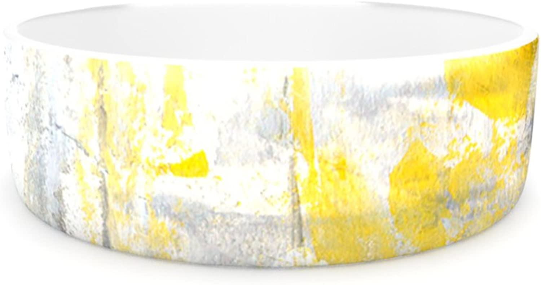 Kess InHouse CarolLynn Tice Abstraction  Pet Bowl, 4.75Inch, Grey Yellow