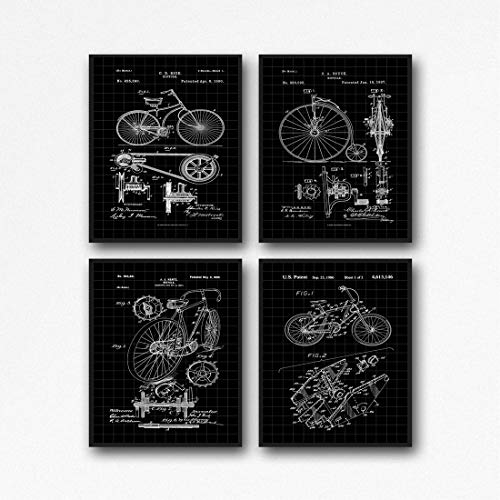 Fahrrad-Poster, Radsport-Dekoration, Fahrrad-Drucke, Wandkunst, Radfahrer-Poster, WB374-WB377, Schwarzes Gitter, 16.5 x 23.4 (A2)