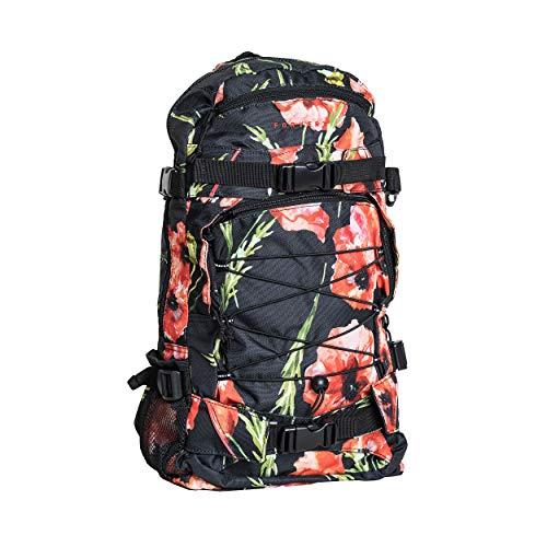 FORVERT Allover Louis Unisex Backpack,Daypack,Rucksack,Hauptfach,3 weitere Fächer,Boardcatcher,gepolstert,verstellbare Träger,Black Poppy,one Size