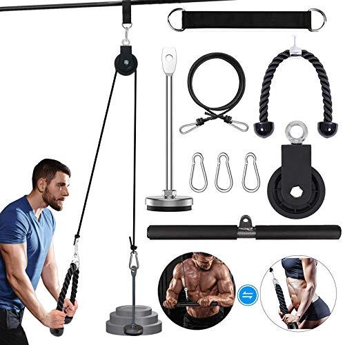 Unterarm Handgelenk Roller Trainer Armkrafttraining mit Hochleistungs-Riemenscheibensystem für Latzüge, Trizeps-Extensions Home Gym Workout… (Straight + Tricep Rope)