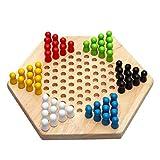 W.Z.H.H.H Tablero de ajedrez Checkers clásicos Juego de ajedrez de Madera Hexagonal Juego de ajedrez de Entretenimiento Familiar Juego