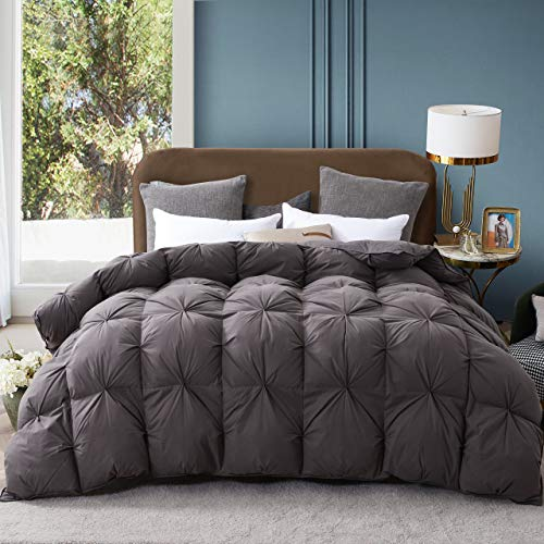 Alanzimo Goose Down Comforter,Four Seasons Luxury 1200 Thread Count 100% Cotton Hypoallergenic 700~800 Fill Power with Tab,King and Queen Available