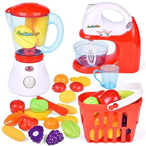 Kids 18pc Kitchen APPLIANCE Blender+Mixer+Coffee Maker Real Working Playhouse