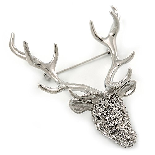 Avalaya Large Clear Austrian Crystal Stag Head Brooch in Rhodium Plating - 70mm Length