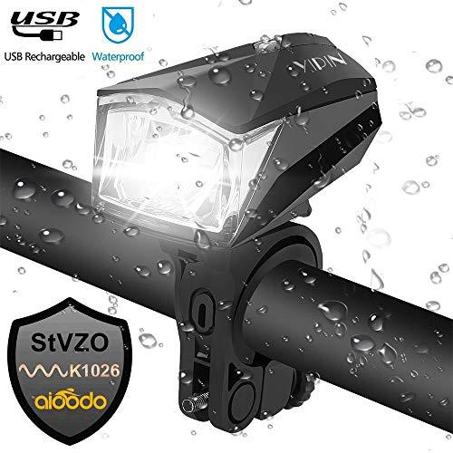 BIGO LED Fahrradbeleuchtung StVZO Zugelassen Fahrradlicht wasserdichte USB Aufladbare Fahrradlichter Mountainbike-Licht für Nacht-Radfahren (Fahrradlichter-Schwarz)