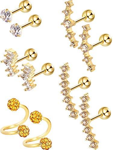 5 Paar Edelstahl Knorpel Ohrringe Tragus Helix Ohrclip Barbell Knorpel Stud für Damen Mädchen Favor, 5 Stile (Gold)